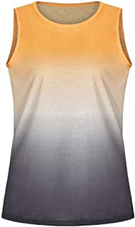 UUGYE Womens Sleeveless Ombre Crew Neck Shirt Tank Tops Blouse