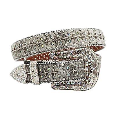JIELEE Swarovski Rhinestone Belt for Womens Fashion Western Cross Conchos Studded Belt Removable Buckle(XL, Natural Horsehair)