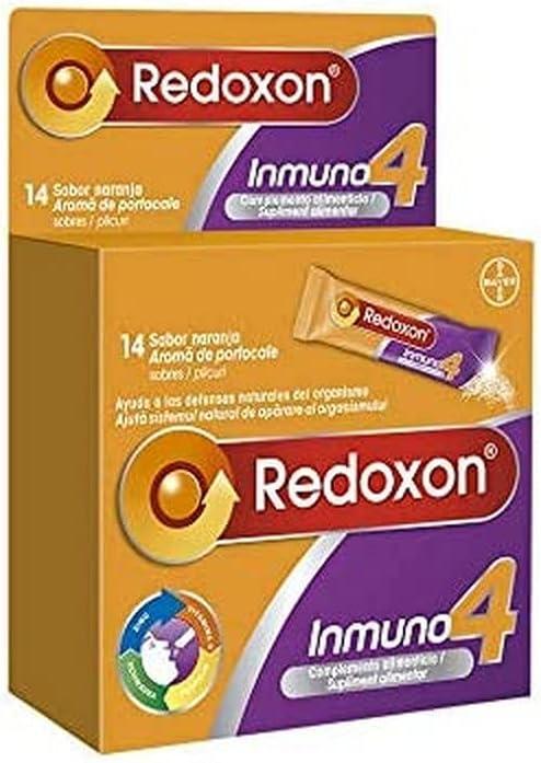 Redoxon Inmuno 4 Complemento Alimenticio con Vitamina C, Zinc, Equinácea y Própolis, Ayuda al Sistema Inmunitario, Sabor Naranja, 14 Sobres