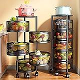 XIHANGE Shelves for Storage Utility Shelf Storage Rack Multifunctional Rotating Kitchen Shelf Can be Used for Vegetable and Fruit Storage Spice Rack Organizer for Pantry Door (Black, 30cm✖34cm✖60cm)