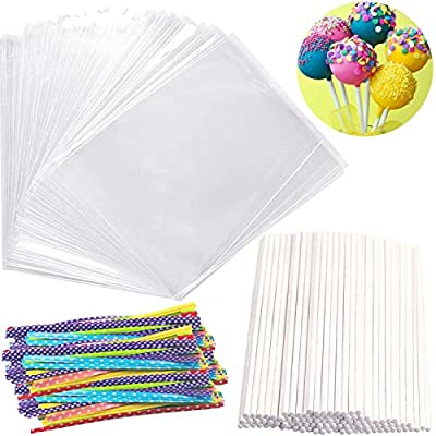 Big Size Lollipop Cake Pop Treat Bag Set Including 100pcs Parcel Bags, 100pcs Papery Treat Sticks, 100pcs Colorful Metallic Twist Ties for Making Lollipops, Cake Pops, Candies, Chocolates and Cookies from