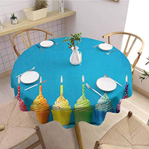 Dining Tablecloth,BirthdayCupcakes in Rainbow Colors with Candles Fun Homemade Party Food Sweet...