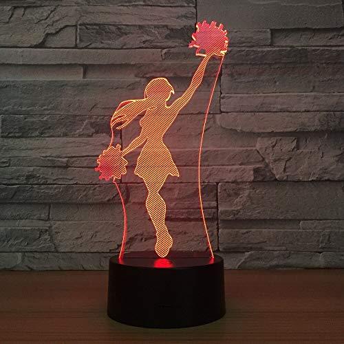 Nocturna Lámpara Lámpara Led 3D De Chica Animadora Luz De Noche Fresca 7 Colores Lámpara De...