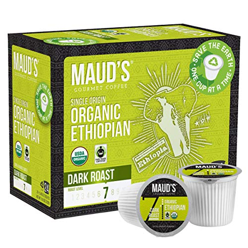 Maud's Organic Ethiopian Coffee (Dark Roast Coffee), 24ct. Solar Energy Produced Recyclable Single Serve Fair Trade Single Origin Organic Ethiopian Coffee Pods - 100% Arabica Coffee, KCup Compatible