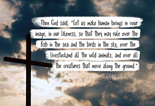Genesis 1:26 Let Us Make Human Beings - Bible Verse Collection Poster - 13x19 Unframed - Perfect Gift Under $20