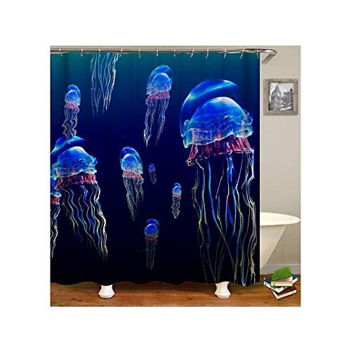 Beydodo Wasserdicht Lustiger Duschvorhang 165x180 cm Quallen Duschvorhang Antischimmel