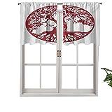 Hiiiman Cortinas cortas, protección de privacidad, estilo tradicional de roble, follaje mitológico que simboliza el crecimiento, juego de 1, 106,7 x 45,7 cm para baño, cocina, sala de estar