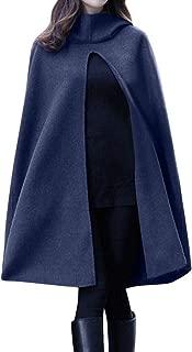 Fitfulvan Womens Winter Coat Solid Hooded Sleeveless Bandage Cloak Long Outwear Tops
