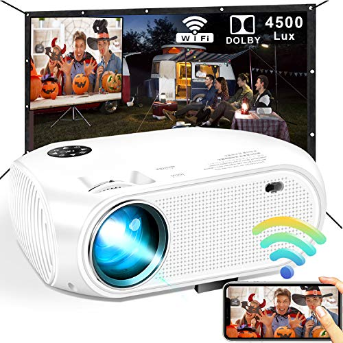 Wireless WiFi Projector, DIWUER 2021 Newest 4500 Lux Portable Mini Projectors for Outdoor Movies, Support Wireless/ USB Cable Mirroring, Compatible with TV Stick, PS4, iPhone, Android, Windows