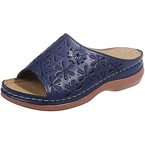 WellingA Verano para Mujer Zapatillas BañO CuñA con Punta Abierta Toboganes Ducha CóModo Antideslizante Zapatos Cuero con Punta Abierta Playa Caminar Sandalias,Azul,43
