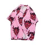 Camisa de impresión Completa del Diablo Hip Hop Mujer Hombre Streetwear Floral Rapper Harajuku Camisas Hawaianas Sueltas (Rosa, M)