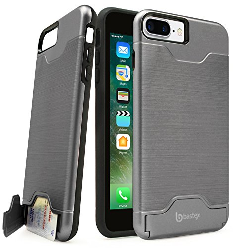 iPhone 7 Plus Case, Bastex Hybrid Slim Fit Black Rubber Silicone Cover Hard Plastic Grey Brushed Metal Design Kickstand Case with Hidden Credit Card Slot for Apple iPhone 7 Plus