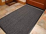 Heavy Duty Barrier Mat Indoor and Outdoor Kitchen Hallway Door Mat Rug Machine Washable Back Door Entrance Non Slip Traps Dirt PVC Rubber Barrier Mat (Grey, 80 x 120 cm)