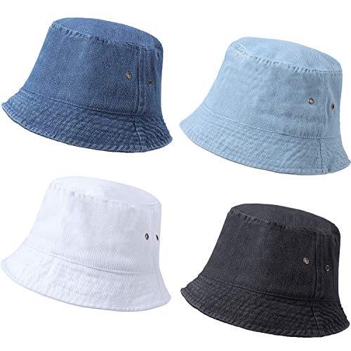 SATINIOR 4 Pieces Bucket Hat Cotton/Denim Packable Travel Hat Washed Beach Fishing Hat (Black, White, Dark Blue, Light Blue, 58 cm)