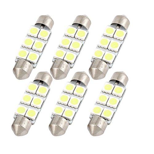 Sourcingmap 6PCS 41mm 6 LED 5050 SMD Lumière Blanche Feston de Dôme Voiture Lampe 211-2 212-2 intérieur