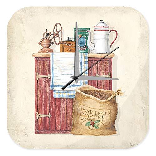 Orologio da parete Cucina Piastra Macinino da caffè e chicchi di caffè cabinet Plexiglas