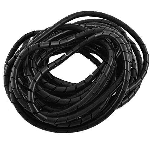 Aexit Spiral Wrapping Shaft Collars Band Cable Wire Manager 8mm Dia 8M Heat Shrinkable Shaft Collars Long Black