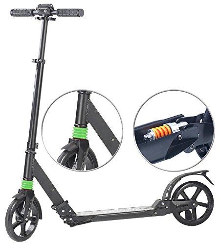 PEARL Scooter mit Federung: Klappbarer Profi-City-Roller, XXL-Räder, 2-fache Federung, bis 100 kg (Cityroller mit Federung)