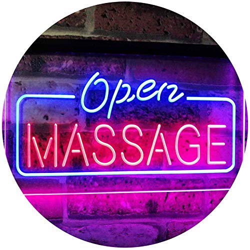 """ADVPRO Massage Therapy Open Walk-in-Welcome Display Body Care Dual Color LED Neon Sign Blue & Red 16"""" x 12"""" st6s43-i0365-br"""