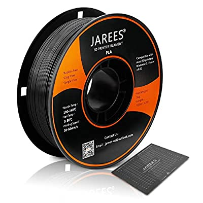 PLA Filament 1.75mm with 3D Build Surface,JAREES Black PLA 3D Printer Filament Dimensional Accuracy +/- 0.02 mm,1kg (2.2lbs) Spool,Fit Most FDM Printers