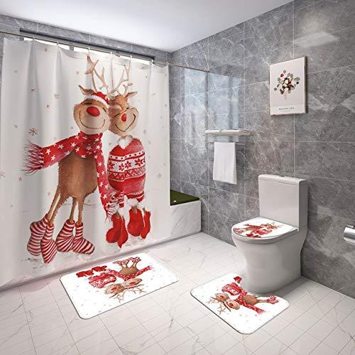 Minyose Frohe Weihnachten Duschvorhänge Und Teppiche Sets Schneemann Elch Badezimmer Dekor rutschfeste Teppich Toilettensitzbezug Badematten Set 1.8X1.8M