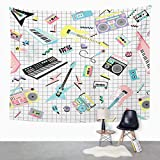 Suklly Tapestry Wall Hanging Music Retro 80S 90S Musical Instruments and Cassette Players