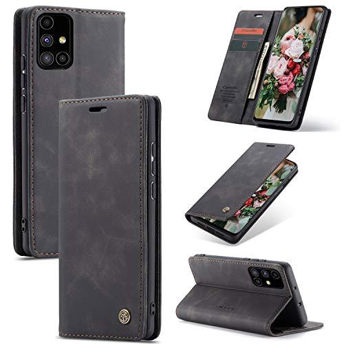 FMPC Handyhülle für Samsung Galaxy M51 Premium Lederhülle PU Flip Magnet Hülle Wallet Klapphülle Silikon Bumper Schutzhülle für Samsung Galaxy M51 Handytasche - Schwarz