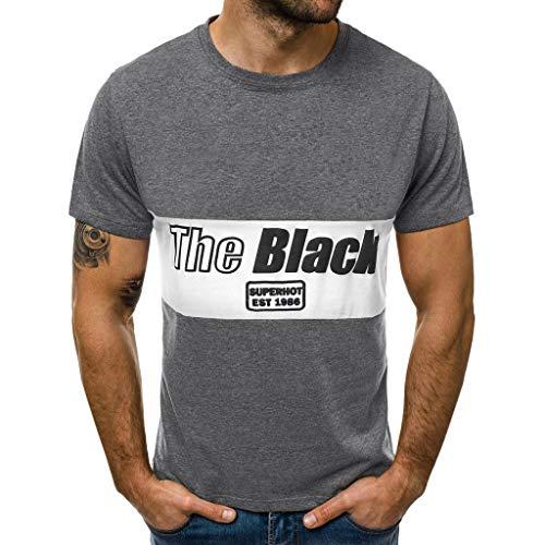 Lurcardo Herren T-Shirt - Männer Herren Sommer Shirt Kurzarm Rundhals T Shirt Tee Hemd Casual Muscle Basic Rundhals Brief Drucken Slim Fit T-Shirt Tanktops Tank Top Tops T-Shirts Hemden für Herren