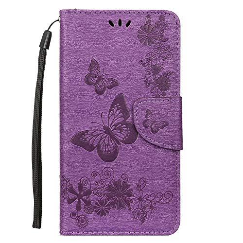 samanoya Funda para teléfono móvil Huawei P30 Lite, de piel sintética, con cierre magnético, con tarjetero y función atril, color morado