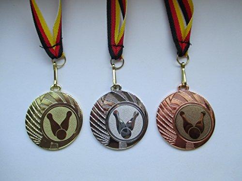 Fanshop Lünen Medaillen Set - aus Stahl Medaillen, Kegeln - Kegler - Gold, Silber, Bronze, mit Emblem 25mm - Medaillen-Band - (e262)