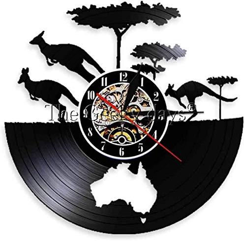 ZZNN Reloj de Pared de Vinilo Hoja Mapa Continental Reloj de Pared con Registro de Vinilo Animal Moderno Decoración de Arte de Pared Negra