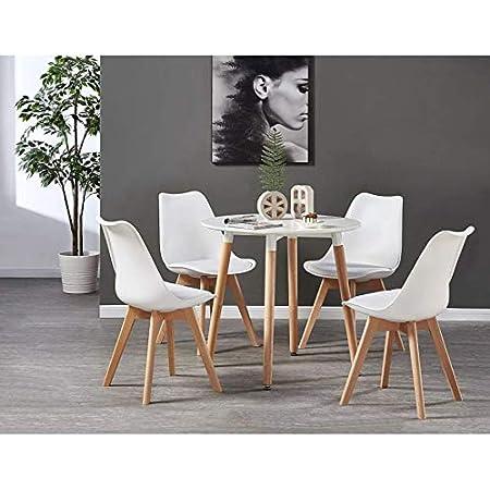 Life Interiors Table Blanche Ronde + 4 Chaises Scandinaves - Ensemble pour Salle à Manger ou Cuisine (Blanc)