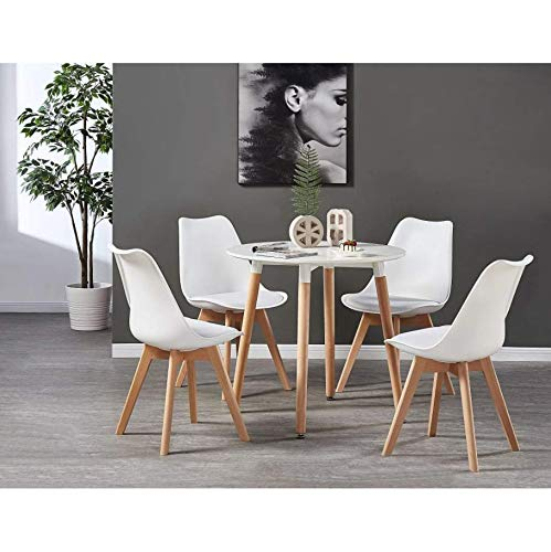 Life Interiors: Lorenzo Chair & White Halo Round Table Dining Set | SET OF 4 CHAIRS | Round Modern Table | Padded Seat | Modern Furniture | (White & White)