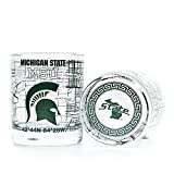 Officially Licensed Michigan State Drinkware - Enjoy a classic cocktail with these school spirit whiskey sets. Each set contains 2 low ball rocks glasses featuring the university's full color logo and an authentic campus map with key landmarks includ...