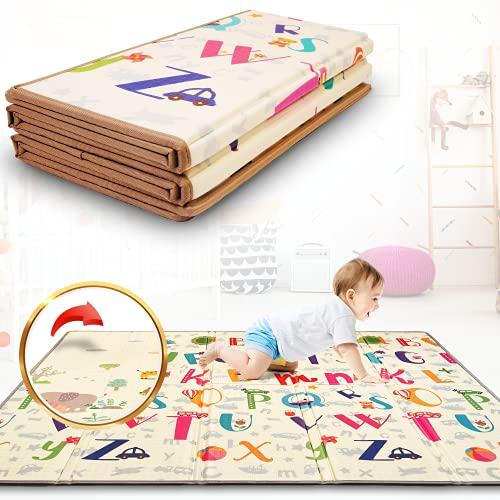 Tapis de Jeu Pour Enfant Bebe 180x200x1,5cm Tapis de Sol XXL Certifié CE en Mousse Epais Pliable Reversible - Tapis d'éveil pour Bébé - Tapis de Motricité Favorisant le Développement Sensoriel
