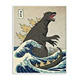 Stupell Industries Godzilla in The Waves Eastern Poster Style Illustration Wall Plaque, 13 x 19, Design by Artist Michael Buxton
