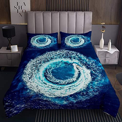 Juego de colcha de surf de olas marinas para niños y niñas, juego de colcha de olas azules para decoración de cama, colección de dormitorio, 2 unidades de tamaño individual
