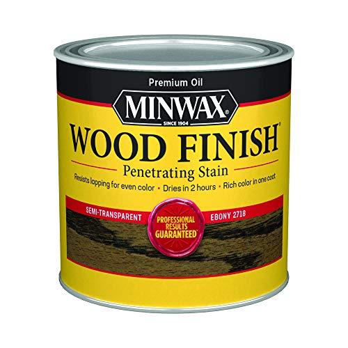 Minwax 227184444 Wood Finish Penetrating Interior Wood Stain, 1/2 pint, Ebony
