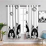 Nileco Cortinas Opacas Termicas - Blanco dibujos animados animal perro - 160x160 cm - Cortinas del Dormitorio de la Habitación de los Niños - 3D Impresión Digital con Ojales Aislamiento Térmico