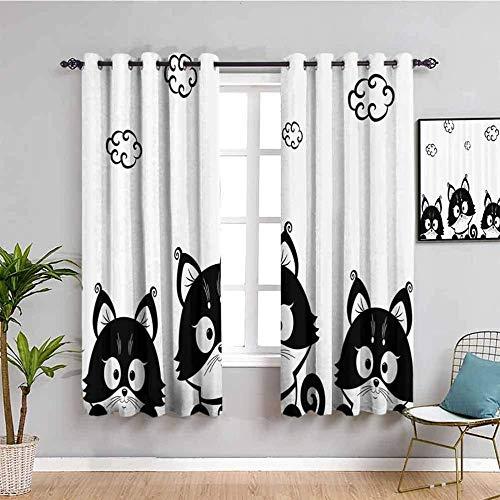 LucaSng Cortinas de Opacas - Blanco Dibujos Animados Animal Perro - 160x160 cm - para Sala Cuarto Comedor Salon Cocina Habitación - 3D Impresión Digital con Ojales Aislamiento Térmico Cortinas
