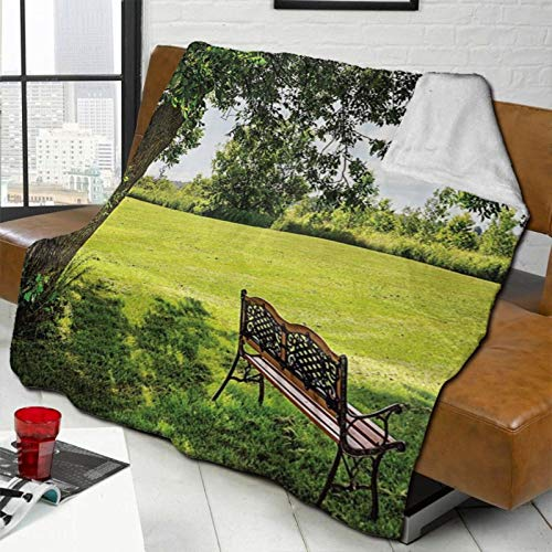L-shop Farm House Decor Wooden Bench Under Lush Majestic Aged Shady Tree In Summer Park Hot Day Fresh Scene Green Brown Personalized Fashion Lamb Blanket