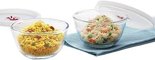Borosil Basics Glass Mixing Bowl with lid - Set of 2 (350ml) Microwave Safe