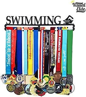 Visual Elite | Swimming (VE-787) | Medal Display Hanger | Hand-Forged Black Metal Hanger Design | The Medal Hangers Collection