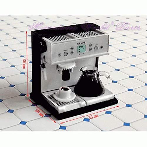 Miniatures World - Metalen koffiemachine met kunststof beker en koffiezetapparaat voor schaal 1:12 miniatuurdecors en poppenhuizen
