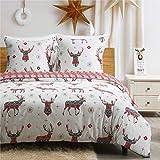 Bedsure Weihnachtsbettwäsche 135x200 cm Microfaser Bettbezug Set mit Hirsch Muster