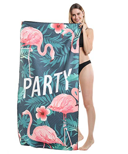 Genovega Thick Microfiber Beach Towel Falmingo Tropical, Sand Resistant Free Proof Sandless, Fast Quick Dry, Compact Cool Travel Pool Towel, Ideal for Women Men, Mom, Best Friend Girlfriend