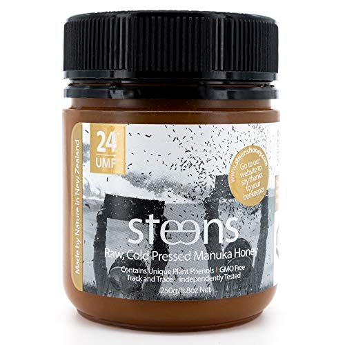 Steens Roher Manuka-Honig MGO 1122 (UMF24) 250 G | Purer Roher, Kalt Verarbeiteter, Nicht Pasteurisierter Honig Aus NZ | Natürliche Heileigenschaften Bei Halsschmerzen Und Zum Aufbau Des Immunsystems