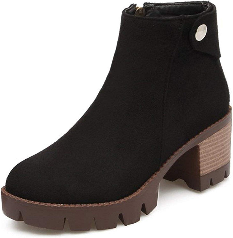 Gedigits Women's Retro Faux Suede Round Toe Side Zipper Stacked Block Medium Heel Platform Ankle Booties Brown 4 M US