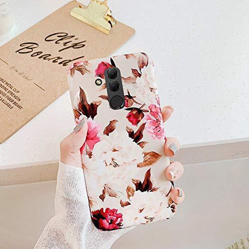 Uposao Kompatibel mit Huawei Mate 20 Lite Hülle Silikon Ultra Dünn Handyhülle 3D Blumen Blätter Bunt Muster Weich TPU Schutzhülle Etui Kratzfest TPU Bumper Handytasche Case Cover,Rose Blumen