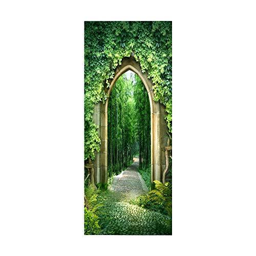 Türtapete selbstklebend Waldweg TürPoster 3D Bewirken Fototapete Türfolie Poster Tapete Abnehmbar Wandtapete für Wohnzimmer Küche Schlafzimmer 77X200CM